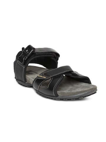 Woodland Men Black Leather Sandals Woodland Sandals at myntra