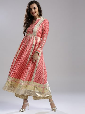 W Women Pink Printed Anarkali Kurta W Kurtas at myntra