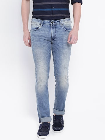 Pepe Jeans Men Blue Slim Fit Low-Rise Low Distress Stretchable Jeans Pepe Jeans Jeans at myntra