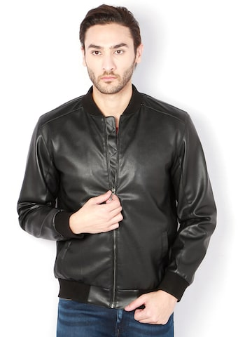 Van Heusen Men Black Solid Biker Jacket Van Heusen Jackets at myntra