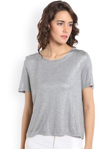 Vero Moda Women Silver-Toned Solid T-shirt Vero Moda Tshirts at myntra