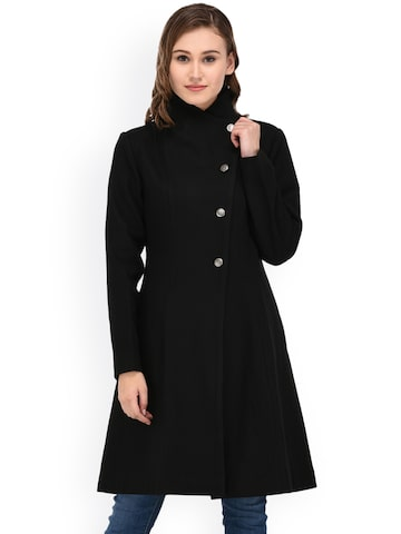 Owncraft Black Longline Overcoat Owncraft Coats at myntra