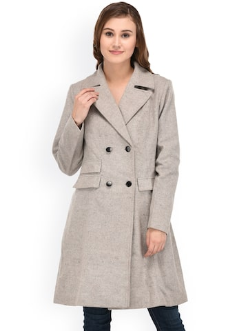 Owncraft Grey Longline Pea Coat Owncraft Coats at myntra