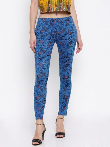 Global Desi Women Blue Regular Fit Printed Trousers Global Desi Trousers at myntra