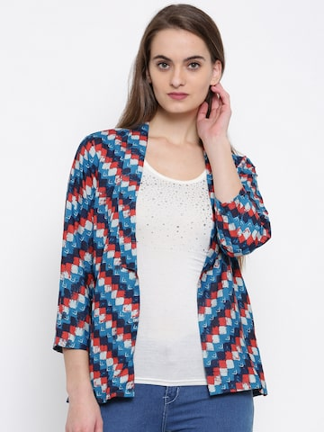 Global Desi Blue & Red Printed Shrug Global Desi Shrug at myntra