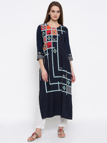 Global Desi Women Navy Printed Straight Kurta Global Desi Kurtas at myntra