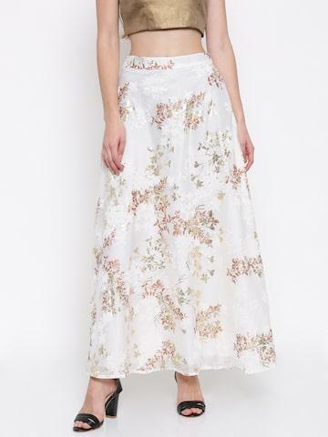 Global Desi Women Off-White Printed Maxi Skirt Global Desi Skirts at myntra