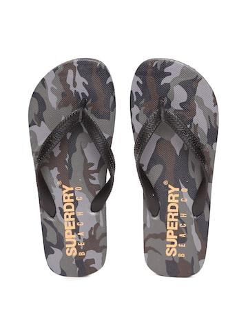 Superdry Men Black & Grey Printed Flip-Flops Superdry Flip Flops at myntra