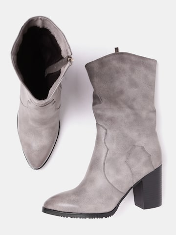 DressBerry Women Taupe Solid Heeled Boots DressBerry Heels at myntra