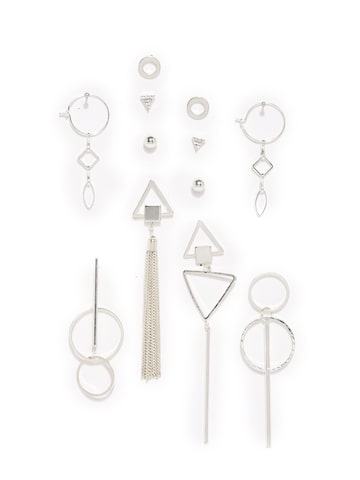 Accessorize Women Set of 12 Geometric Studs Accessorize Earrings at myntra