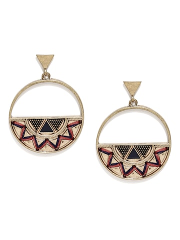 Accessorize Gold-Toned Geometric Drop Earrings Accessorize Earrings at myntra