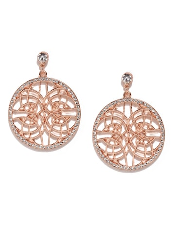 Accessorize Rose Gold-Toned Studded Circular Drop Earrings Accessorize Earrings at myntra