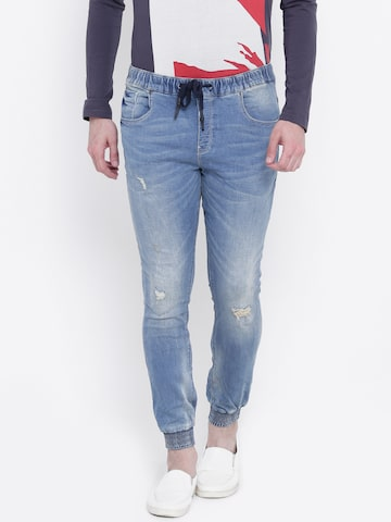 United Colors of Benetton Men Blue Mid-Rise Low Distress Stretchable Joggers United Colors of Benetton Jeans at myntra