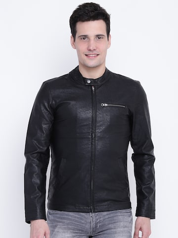 United Colors of Benetton Men Black Solid Biker Jacket United Colors of Benetton Jackets at myntra