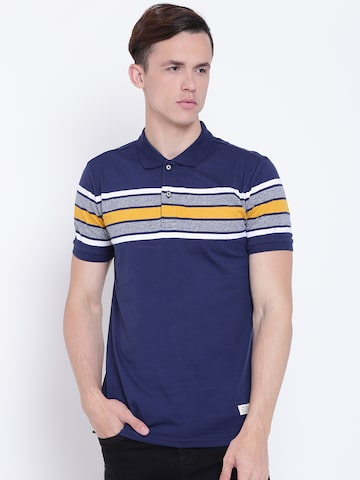 United Colors of Benetton Men Navy Blue Striped Polo Collar T-shirt United Colors of Benetton Tshirts at myntra