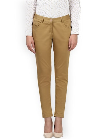 Park Avenue Women Khaki Tapered Fit Solid Formal Trousers Park Avenue Trousers at myntra