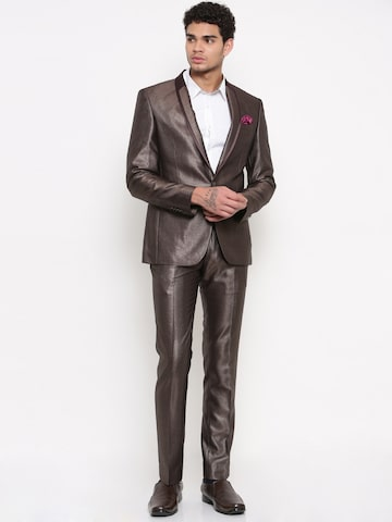 Park Avenue Brown Single-Breasted Super Slim Fit Formal Suit Park Avenue Suits at myntra