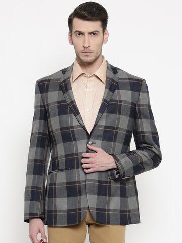 Park Avenue Navy & Grey Slim Fit Single-Breasted Casual Blazer Park Avenue Blazers at myntra