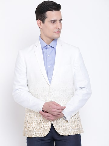 Peter England Off-White & Beige Printed Single-Breasted Casual Blazer Raymond Blazers at myntra
