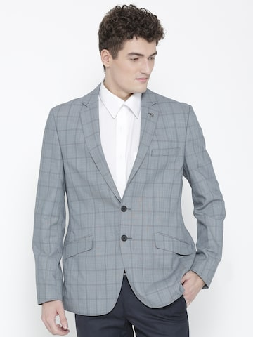 Raymond Blue Checked Slim Fit Woollen Single-Breasted Formal Blazer Raymond Blazers at myntra