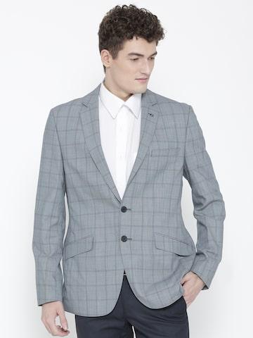 Raymond Blue Checked Slim Fit Woollen Single-Breasted Formal Blazer Raymond Blazers at myntra