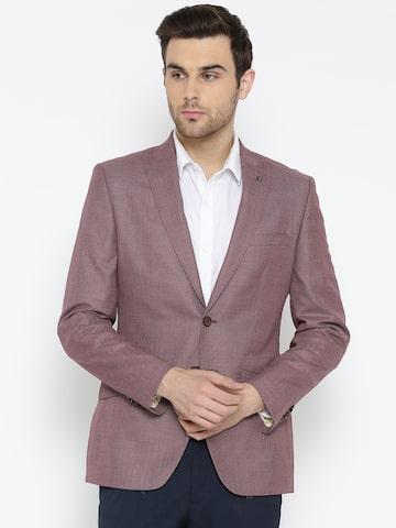 Raymond Dusty Pink Patterned Single-Breasted Slim Fit Casual Blazer Raymond Blazers at myntra