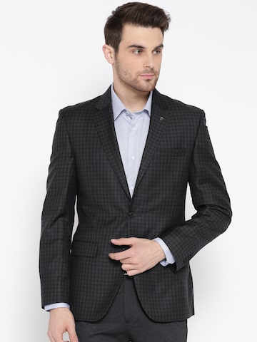 Raymond Grey Checked Slim Fit Single-Breasted Formal Blazer Raymond Blazers at myntra