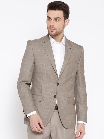 Raymond Beige Patterned Contemporary Fit Single-Breasted Formal Blazer Raymond Blazers at myntra