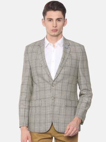 Raymond Brown Contemporary Fit Single Breasted Checked Casual Blazer Raymond Blazers at myntra