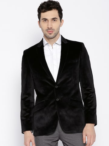 Raymond Men Black Solid Velvet Finish Contemporary Fit Single-Breasted Partywear Blazer Raymond Blazers at myntra