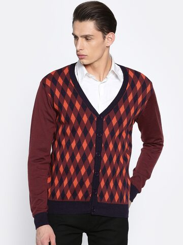 Raymond Men Brown & Navy Blue Self-Design Cardigan Raymond Sweaters at myntra