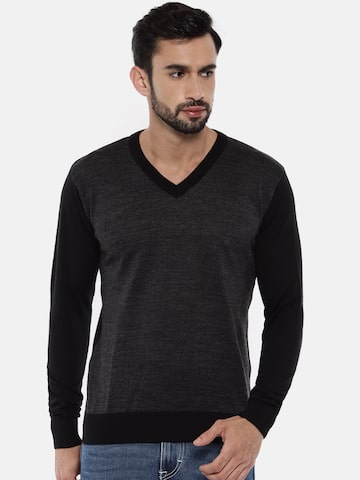 Raymond Men Black Solid Pullover Raymond Sweaters at myntra
