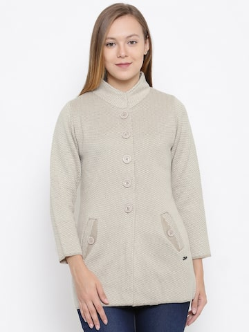 Duke Women Beige Self Design Cardigan Duke Sweaters at myntra
