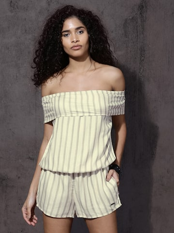 Roadster Cream-Coloured  Striped Playsuit Roadster Jumpsuit at myntra