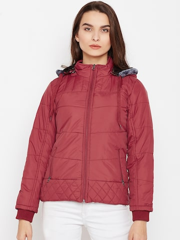 Fort Collins Women Maroon Solid Padded Jacket with Detachable Hood Fort Collins Jackets at myntra