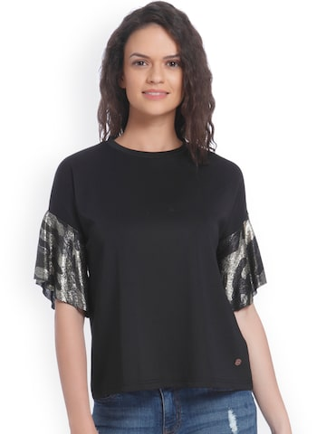 ONLY Women Black Solid Round Neck T-shirt ONLY Tshirts at myntra