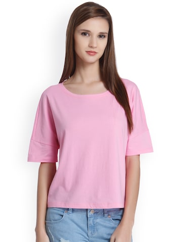 ONLY Women Pink Printed Round Neck T-shirt ONLY Tshirts at myntra