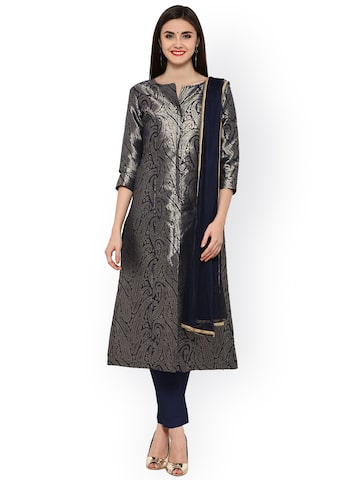 Inddus Navy Art Silk Unstitched Dress Material Inddus Dress Material at myntra