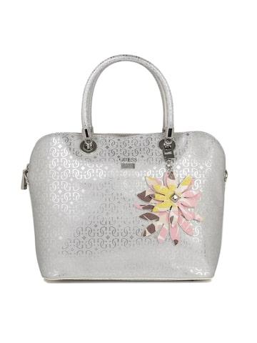 GUESS Silver-Toned Textured Handheld Bag GUESS Handbags at myntra