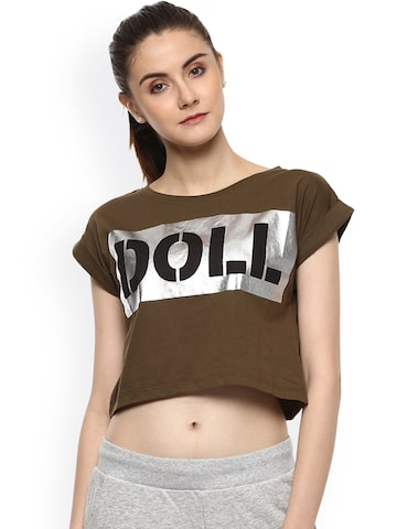 PUNK Women Olive Green Printed Round Neck Crop T-shirt PUNK Tshirts at myntra