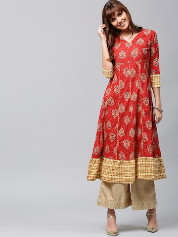 AKS Women Red & Beige Printed Anarkali Kurta AKS Kurtas at myntra