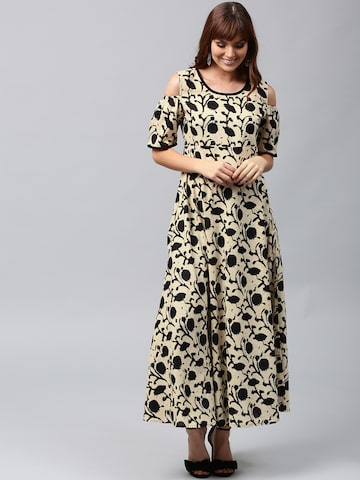 AKS Women Cream-Coloured & Black Printed Anarkali Kurta AKS Kurtas at myntra