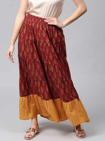 AKS Maroon & Mustard Yellow Ethnic Print Flared Maxi Skirt AKS Skirts at myntra