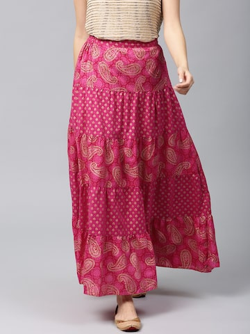 AKS Pink Ethnic Print Flared Maxi Skirt AKS Skirts at myntra