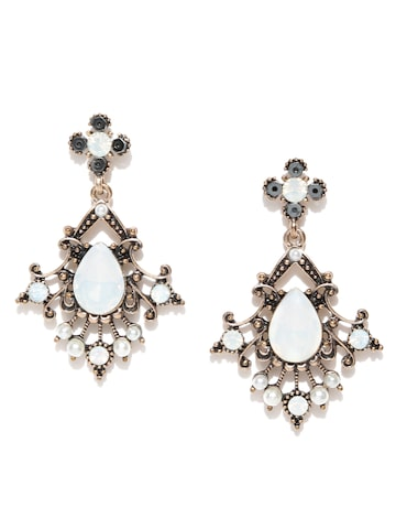 Blueberry Antique Gold-Toned & off-White Classic Drop Earrings Blueberry Earrings at myntra