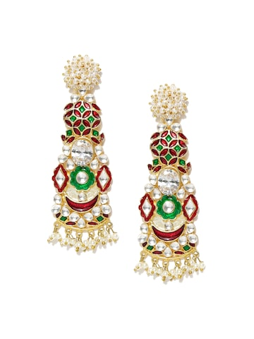 Blueberry Gold-Toned & Green Handcrafted Classic Drop Earrings Blueberry Earrings at myntra