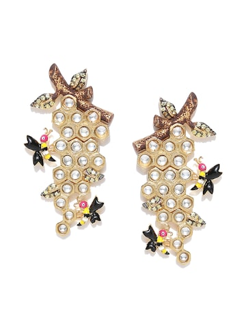 Blueberry Gold-Toned Quirky Stone-Studded Handcrafted Drop Earrings Blueberry Earrings at myntra