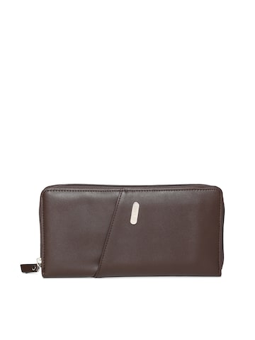 Lavie Women Brown Solid Zip Around Wallet Lavie Wallets at myntra