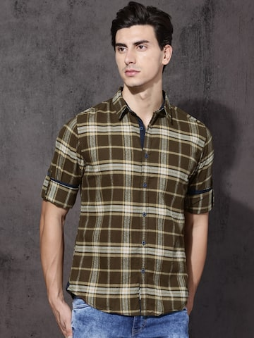 Roadster Men Olive Green & Beige Regular Fit Checked Casual Shirt Roadster Shirts at myntra