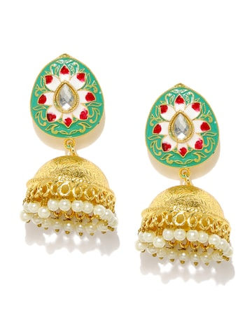 Anouk Gold-Toned & Green Jhumkas Anouk Earrings at myntra